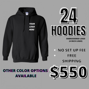 24 Hoodies W/ Embroidered Logo